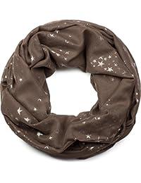 95048593f8e0 styleBREAKER écharpe snood avec motif imprimé d étoiles métalliques  scintillantes un peu partout, écharpe