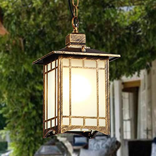 uchte Höhenverstellbar Außenlampe Pavillon Trauben Rahmen Gang Hof Patio Wasserdichte IP23 Pendellampe Aussen Innen Bronze Aluminium und Glas Schatten Aufhänge Lampe ()