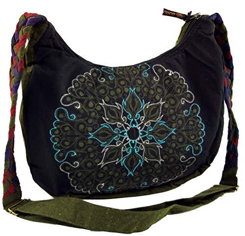 Guru-Shop Ethno Schultertasche, BohoTasche Mandala, Nepal Tasche - Schwarz, Herren/Damen, Baumwolle, Size:One Size, 26x33x5 cm, Alternative Umhängetasche, Handtasche aus Stoff