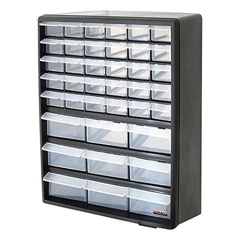 Bond Hardware Werkzeug-Schrank/-Regal, schwarz, 39transparente Schubladen, zum Organisieren von Schrauben,