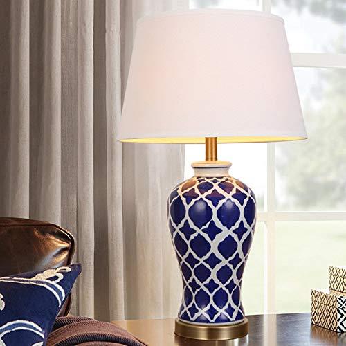YLee Moderne Keramik Tischlampe, E27, von Hand bemalt blau-weiße Keramik-Tischlampe Wohnzimmer Schlafzimmer Nachttischlampe (ohne Lichtquelle) -