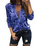 StyleDome Camiseta Camuflaje Mujer Blusa Cuello Pico Elegante Deportiva Oficina (EU 36, Azul761123)