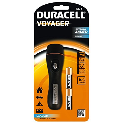 Duracell CL-1 - Voyager - torcia elettrica impermeabile del led (rivestimento in gomma, include 2 batterie