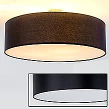 Lámpara de Techo Foggia con Pantalla de Tela Negro 60 cm 3 x E27 Design Moderno
