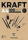 Clairefontaine 96545C -Un bloc encollé Kraft brun 100 pages 21x29,7 cm 90g