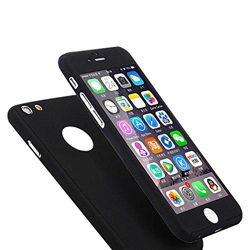 Fenrad® Nero All Round PC Front Cover+ PC Back Custodia +Pellicola Protettiva Temperato Vetro per Apple iphone 6 4.7 Ultra Sottile Full Coverage Case Protezione Protector--Black Nero