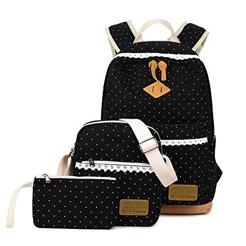Mädchen Tasche 3 Set mit Schulrucksack, Schultertasche, Geldbeutel KHDZ Segeltuch Tagstasche mit Punkten und Spitzen Perfekt für Schule Reise Freizeit (Schwarz)