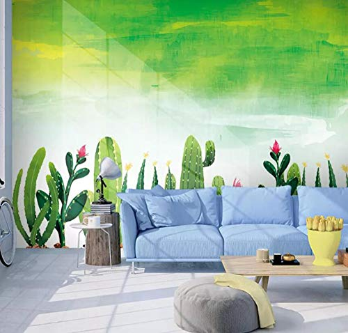 3D Non-Woven Wallpapernordic Cactus Wallpaper Bedroom Tv Background Seamless Wall Covering Green Plant Wallpaper, 300 * 210