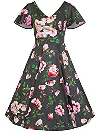 0071060e5ca3 Pretty Kitty Fashion Sage Green Floral Print Cap Sleeve Rockabilly 50s Swing  Tea Dress