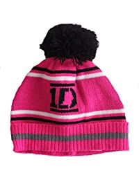 Girls One Direction 1D Logo Pink& Black Striped Winter Beanie Bobble Hat Age 4-6