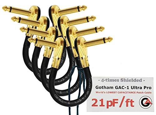 Gotham GAC-1Ultra ProPatch-Kabel,17cm,Low-Cap (21PF/FT), für Gitarren/Instrumente mit Bass-Effekt, S-förmiges Patch-Kabel mit vergoldeten flachen Pancake-Stecker,6,35 mm, 4Stück