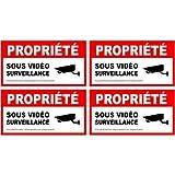alarme propriété sous vidéo surveillance lot de 4 logo 5669 autocollant adhésif sticker Taille : 8 cm