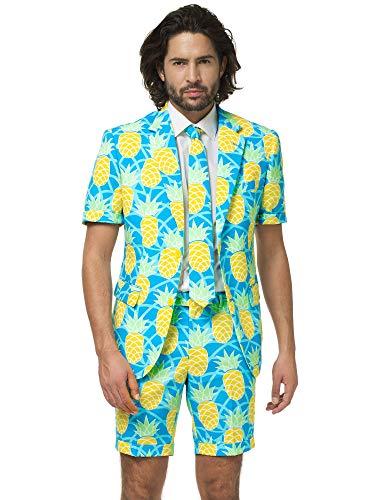 Opposuits Flaminguy Anzug für Herren besteht aus Sakko, Hose und Krawatte, Shineapple, - Ananas Kostüm Männer