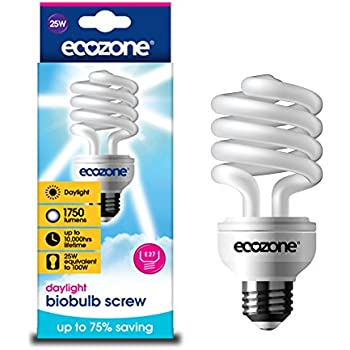 Ecozone Biobulb, Energy-Saving Daylight Bulb, Screw Cap E27, 25W Equivalent to 100w, 1750 Lumens, Full Spectrum, Daylight White 6500k, Uses 75% Less Energy. Ideal for suffers of S.A.D