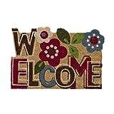 Dcasa - Felpudo original flower welcome fibra de coco 60 x 40 cm