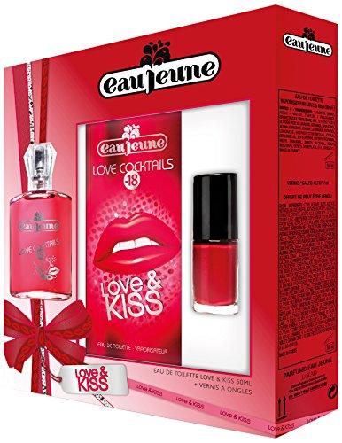 Eau Jeune Coffret Femme Love&Kiss Eau de Toilette 50ML + Vernis à Ongles 7 ml