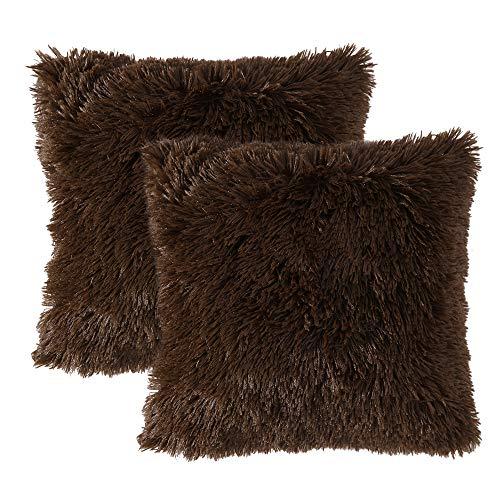 MIULEE 2er Set Soft Künstlich Pelz Throw Kissenbezüge Set Kissen Fall für Sofa Schlafzimmer Auto 18x18 Zoll 45x45 cm Schokolade -