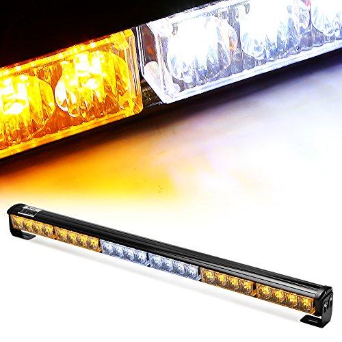 """Rupse 24 LED 27"""" Einsatzfahrzeug Blitzleuchte Lichtbalken Stroboskoplicht Warnleuchten Auto Blitzlicht LED Autolampe auto PKW / LKW led warnblinkleuchte super bright in rot gelb balu und weiß (Gelb mit Weiß)"""