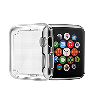 Apple Watch Series 2 Case, PEMOTech Apple Watch (42mm) TPU Screen Protector All-around Protective 0.3mm HD Clear Ultra-thin Cover [Anti-Bubble] [Anti-Glare] [Perfect Fit] for Apple Watch Series 1, Series 2, SPORT, EDITION