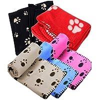 Unicoco Manta de forro polar suave para mascotas con estampado floral, cálida para perros y gatos