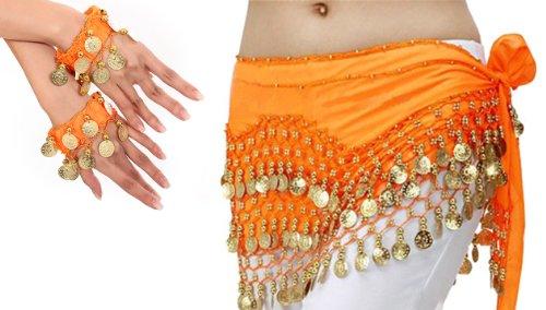 Belly Dance Bauchtanz Kostüm Hüfttuch inkl. ein Paar Handketten Münzgürtel Fasching Karneval Tanzaufführung Gürtel in orange NEU /Marke ()