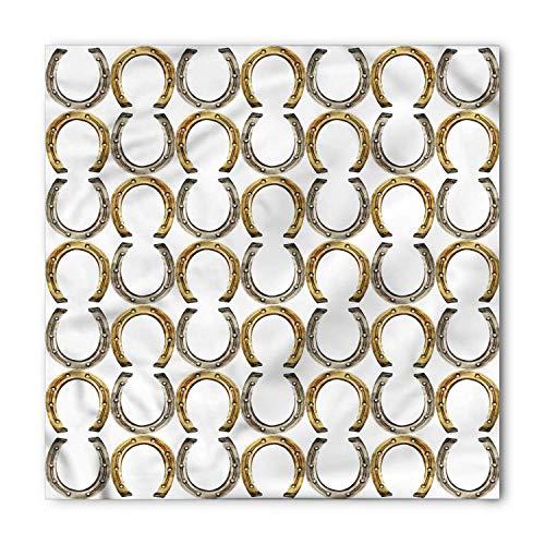 Horseshoe Bandana, Symbol for Good Luck Riding Equipment Blacksmith Arch Pattern Symbolic Print, Printed Unisex 100x100cm - Olive Arch