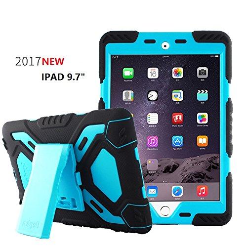 Funda Bpowe Pepkoo serie Heavy Duty de silicona y doble capa a prueba de golpes, polvo, niños con función atril para Apple iPad 9.7 2017/2018 iPad 9.7 pulgadas estuche
