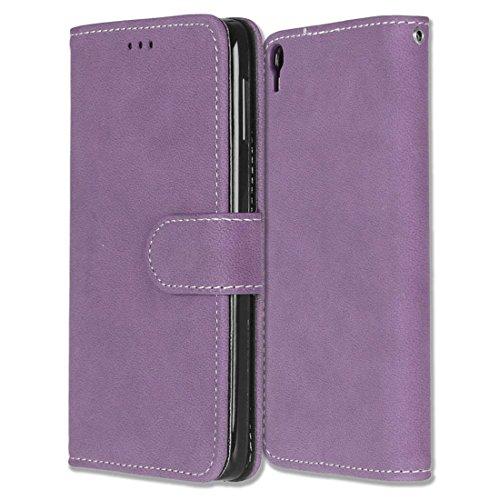 Alcatel One Touch Idol 3 (5.5) Hülle, Chreey Matt Leder Tasche Retro Handyhülle Magnet Flip Case mit Kartenfach Geldbörse Schutzhülle Etui [Lila]