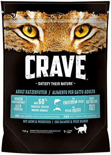 CRAVE Premium Trockenfutter für Katzen - mit Lachs & Weißfisch, 5er Pack (5x750g)