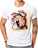 STUDIO GHIBLI CHARACTERS CHERRY BLOSSOM TREE MY NEIGHBOUR TOTORO NO FACE WHITE TSHIRT (XX-Large)