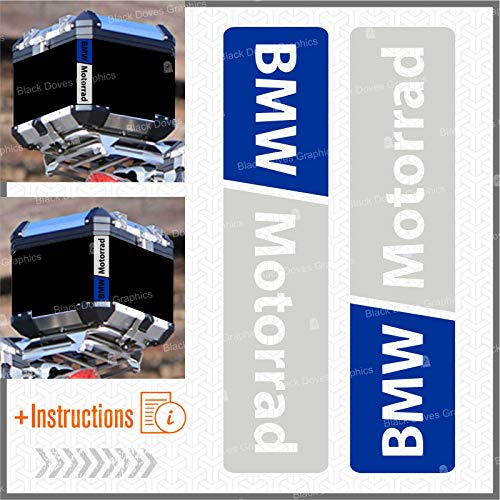 2pcs RIFRANGENTI ADESIVI compatibile con Motorrad R 1200 1150 1250 F 800 650 F700 GS A R1200GS R1200 Touratech Motorcycle Aluminium Panniers Top Case (Bianco/Blu)