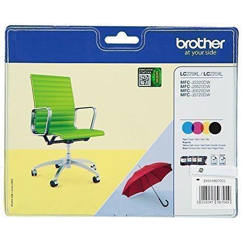 Brother Original LC-229XL Tintenpatronen Value Pack mit Security-Tag bestehend aus 4 XL-Tintenpatronen (schwarz, magenta, cyan, gelb) für Brother MFC-J5320DW, MFC-J5620DW, MFC-J5625DW, MFC-J5720DW