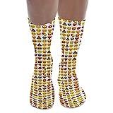 Calcetines unisex, estampados, hasta la rodilla, estilo juvenil multicolor Emoji M