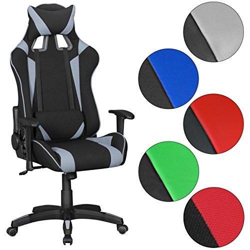 Astro-stuhl (FineBuy GOAL - Gaming Chair mit Stoffbezug | Schreibtisch-Stuhl aus Stoff | Design Racing Chefsessel mit Armlehne | Gamer Bürostuhl mit Racer Sport-Sitz und Kopfstütze | Drehstuhl in Race-Optik)