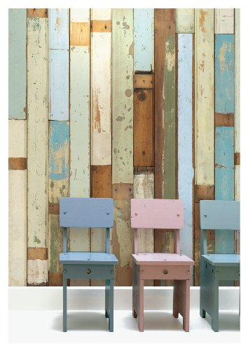 Scrapwood Wallpaper by Piet Hein Eek, Tapete, nicht gewebte Rückseite, 900x48,7cm, 1Rolle, Cremeweiß/Beige/Braun/Blau/Grün - Scrapwood Wallpaper