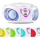 auna • Roadie • CD-Radio • Stereoanlage • Boombox • CD-Player • USB-Port • MP3 • UKW- / MW-Radiotuner • Bluetooth 2.1 / EDR • 3,5-mm-Cinch-Klinke-AUX-Eingang • mehrfarbige LED-Beleuchtung • 2 x 1,5 Watt RMS-Leistung • Netz- und Battarie-Betrieb • weiß