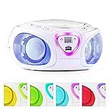 auna Roadie • CD-Radio • Stereoanlage • Boombox • CD-Player • USB-Port • MP3 • UKW- / MW-Radiotuner • Bluetooth 2.1 / EDR • 3,5-mm-Cinch-Klinke-AUX-Eingang • mehrfarbige LED-Beleuchtung • 2 x 1,5 Watt RMS-Leistung • Netz- und Batterie-Betrieb • weiß