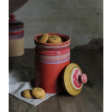 Store Indya, Gettato a mano della rotella studio di ceramica Media Arancione lustrato vaso di ceramica