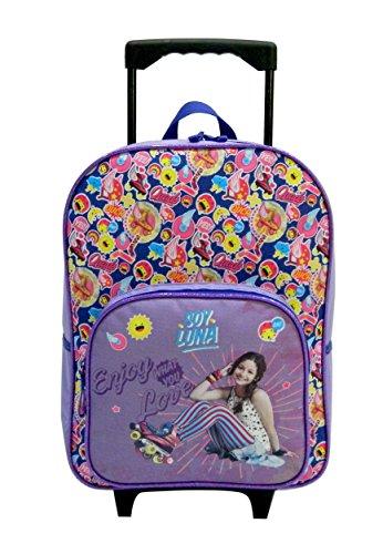 Sac à dos à roulette violet, motif Soy Luna de Disney pour enfants en CP