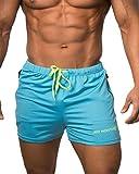 Jed North, pantaloncini attillati da uomo, pantaloncini per body-building, palestra, corsa, pantaloni corti attillati, UKTank013BLUS, Aqua Blue, S