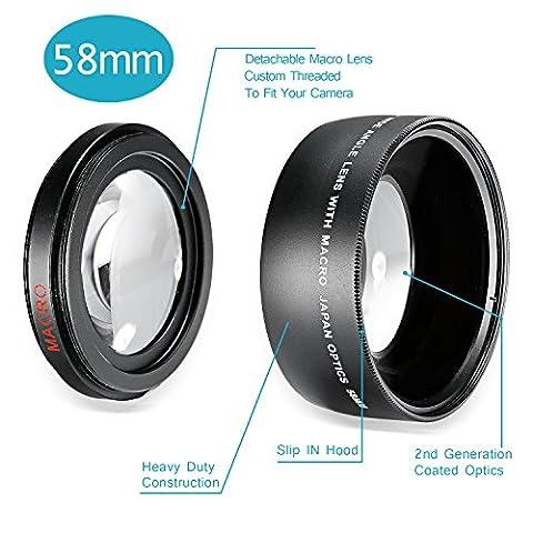 Neewer® 58mm 0,43x Professional HD Weitwinkel-Objektiv mit Makro-Teil für Canon EOS Rebel (T6s t6i T5i T5T4i T3i T3SL11100D 700D 650D 600D 550D 300D 100D 60D 7D 5D 70D) und mehr
