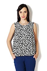 Van Heusen Womens Body Blouse Shirt (VWTS316L00995_White and Black_M)