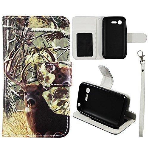 Flip Wallet Kreditkarte Holder Cover für LG Optimus Zone 2Fuel VS415L34C–Verizon PU PU (Poly) Synthetisches Leder Tasche mit ID Slot Fall Cover Snap On Cover Schutzhülle (weiß Hirsch Camo 9)