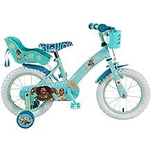 Bicicleta Niña Disney Vaiana Moana 14 Pulgadas Ruedas Extraíbles la Cesta y Asiento Trasero de la Muñeca Menta Verde