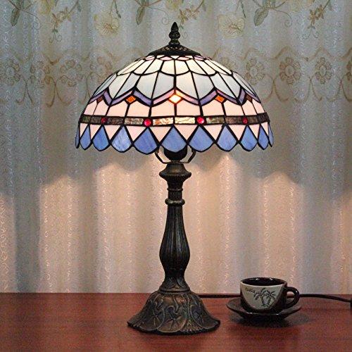 2-Zoll-Weinlese-Hirten-Mittelmeer-blaue Feder-Art-Buntglas Art-Tabellen-Lampen-Schlafzimmer-Lampen-Nachttischlampe (Blau Tabelle)