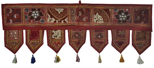 Rajasthali Ethnic Indian Home Decorative Patchwork amp; Embroidery Work Door Hanging Throw Tapestry, 39 X 13 Inches (Maroon)