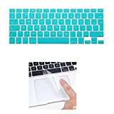 i-Buy Silicone Keyboard Cover Film for Macbook Air 13 Pro 13 Pro 15 + Touchpad Protector[EU Layout]- Cyan