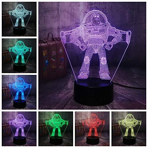 year 3D LED Nachtlicht Schreibtischlampe Rgb 7 Farbe Jungen Kinder Junge Spielzeug Wohnkultur Baby Weihnachten Geburtstagsgeschenk ()