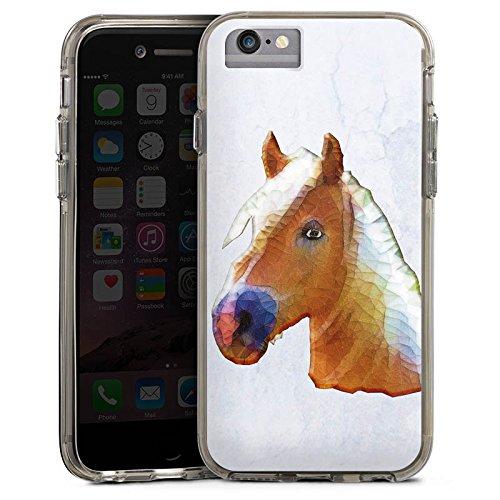 Apple iPhone 6s Bumper Hülle Bumper Case Glitzer Hülle Pferd Horse Stute Bumper Case transparent grau