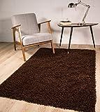 "Stockholm Luxury Chocolate Brown Dense Pile Soft Shaggy Rug 160cmx220cm (5ft3""x7ft3"")"